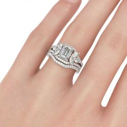 Flower Design Emerald Cut Sterling Silver Ring Set