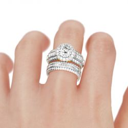 Floral Round Cut Sterling Silver Ring Set