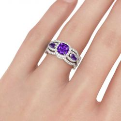 Halo Three Stone Cushion Cut Sterling Silver 3PC Ring Set