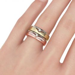 Two Tone Round Cut Sterling Silver Band Set