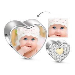 Yellow Heart Photo Charm Sterling Silver