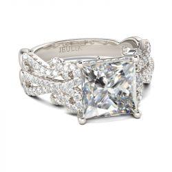 Vintage Lace Design Princess Cut Sterling Silver Ring