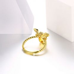 Gold Tone Bee Sterling Silver Adjustable Ring