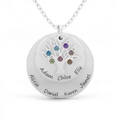 Double Disc Family Necklace with Birthstones Sterling Silver