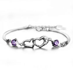 Romantic Linked Heart Sterling Silver Bracelet