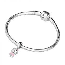 Pink Kitty Charm Sterling Silver