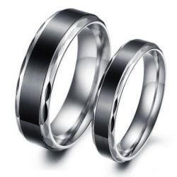 Cool Black Titanium Steel Couple Rings