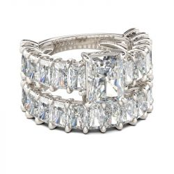 Classic Radiant Cut Sterling Silver Ring Set