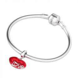 Love and Kiss Charm Sterling Silver