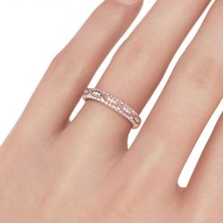 Rose Gold Tone Milgrain Round Cut Sterling Silver Women's Band