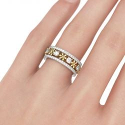 Two Tone Flower Round Cut Sterling Silver Women's Band