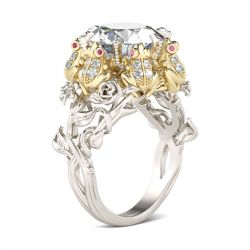 Flower Round Cut Sterling Silver Frog Ring