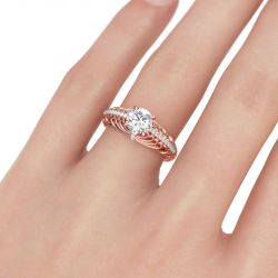 Scrollwork Round Cut Sterling Silver Ring