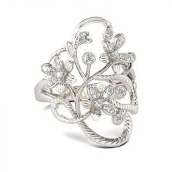 Floral Rope Round Cut Sterling Silver Ring