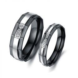 Black Plating Titanium Steel Couple Rings