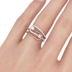 Two Stone Knot Round Cut Sterling Silver Ring