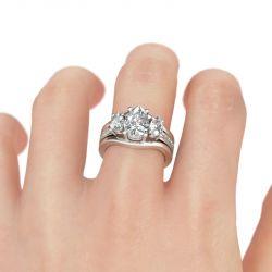 Three Stone Pear Cut Sterling Silver Ring Set