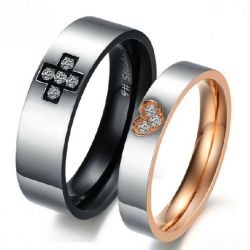 Jeulia Round Cut Titanium Steel Couple Rings