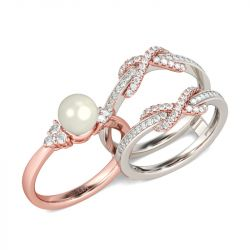 Two Tone Cultured Pearl Sterling Silver Enhancer Ring Set