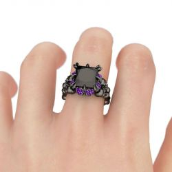 Black Princess Cut Sterling Silver Four Skull Ring