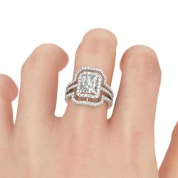 Double Halo Radiant Cut Sterling Silver Ring