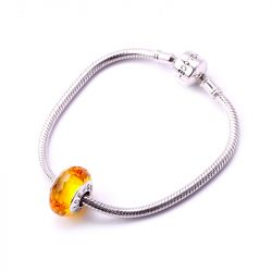 Amber Ice Crystal Faceted Glass Charm