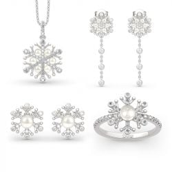 Snowflake Cultured Pearl Sterling Silver Jewelry Set