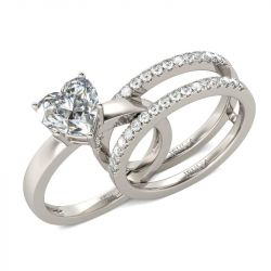 Shining Heart Cut Sterling Silver Enhancer Ring Set