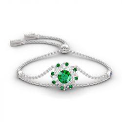 Halo Round Cut Sterling Silver Bracelet