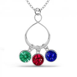 Infinity Necklace with Birthstones Sterling Silver