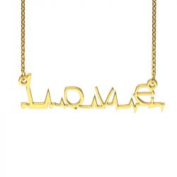 Gold Tone Flatline Style Name Necklace