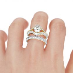 Two Tone Split Shank Round Cut Sterling Silver Ring Set