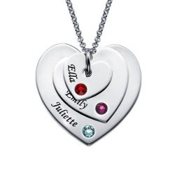 Engraved Three Heart Necklace With Birthstones Sterling Silver