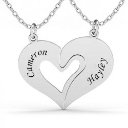 Heart Necklace For Couples Sterling Silver