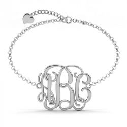 Cubic Celebrity Initial Monogram Bangle Sterling Silver