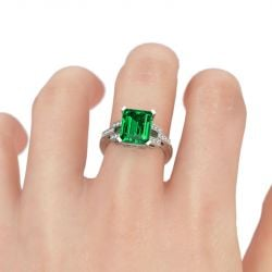 Art Deco Emerald Cut Sterling Silver Ring