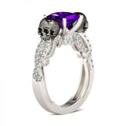 Jeulia Fancy Twist Princess Cut Sterling Silver Skull Ring