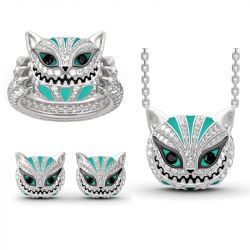 """Grinning Like a Cheshire Cat"" Sterling Silver Enamel Jewelry Set"