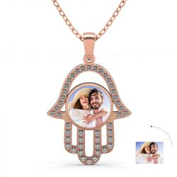 Rose Gold Tone Personalized  Photo Necklace Sterling Silver