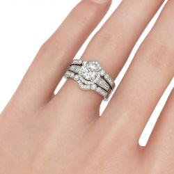 Interchangeable Halo Round Cut Sterling Silver Ring Set