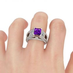 Cathedral Princess Cut Sterling Silver Ring