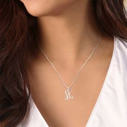 One Initial Monogram With Heart Necklace Sterling Silver