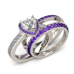 3PC Halo Heart Cut Sterling Silver Ring Set