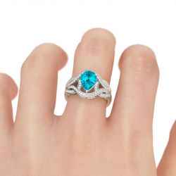 Intertwined Marquise Cut Sterling Silver Ring