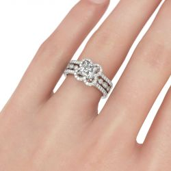 Floral Princess Cut Interchangeable Sterling Silver Ring Set