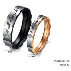 Irregular Titanium Steel Couple Ring