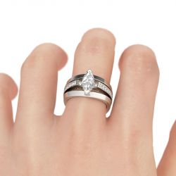 Simple Marquise Cut Sterling Silver Ring Set