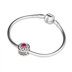 Flower and Heart Charm Sterling Silver