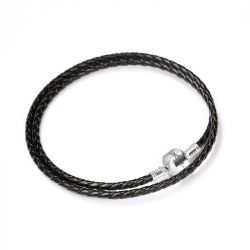 Double Circle Black Leather Charm Bracelet