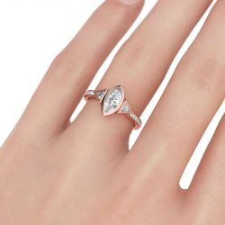 Three Stone Marquise Cut Sterling Silver Ring